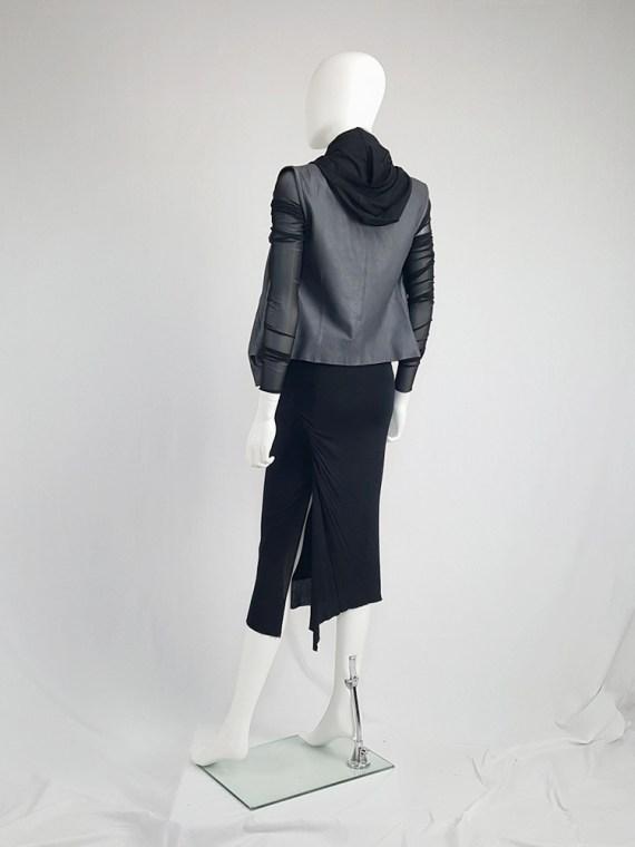 Rick Owens CITROËN black draped skirt with back slit — spring 2004