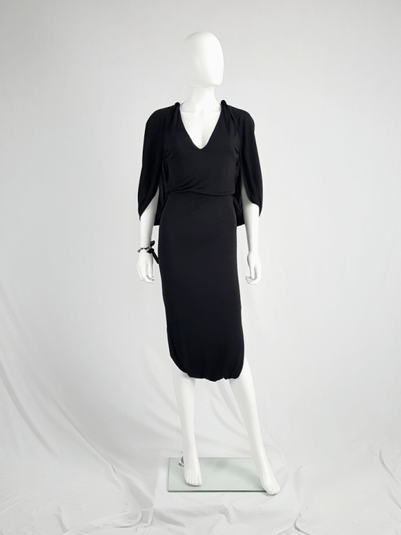 vintage Maison Martin Margiela black jumpsuit with draped back runway fall 2007 130915
