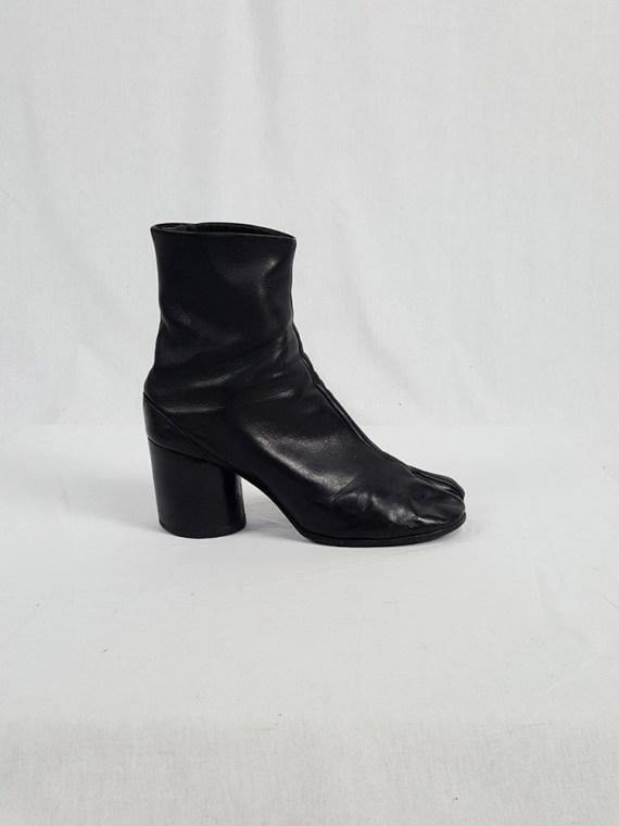 vintage Maison Martin Margiela black leather tabi boots with block heel 1990s archive 111752