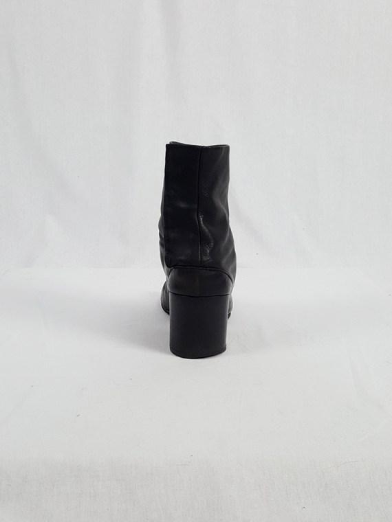 vintage Maison Martin Margiela black leather tabi boots with block heel 1990s archive 111812