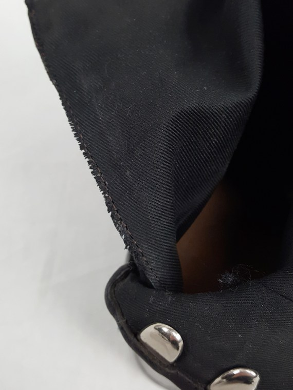vintage Maison Martin Margiela black leather tabi boots with block heel 1990s archive 112517