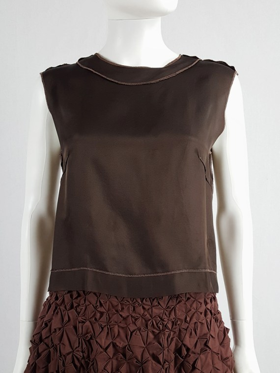 vintage Maison Martin Margiela brown inside-out top in lining fabric runway fall 1995 125042