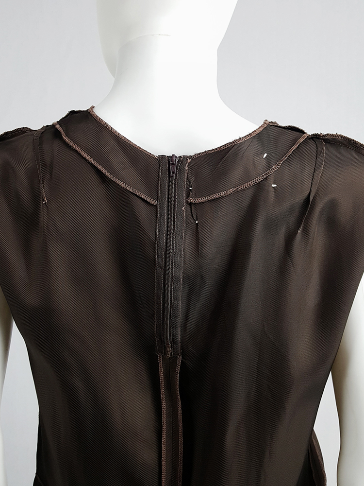 Maison Martin Margiela brown inside-out top in lining fabric — fall 1995