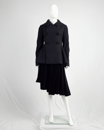 Yohji Yamamoto black double-breasted coat with round collar