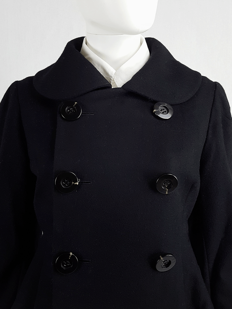 Yohji Yamamoto black double-breasted coat with round collar