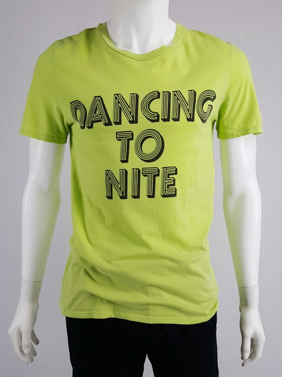 Maison Martin Margiela yellow t-shirt with 'dancing to nite' print — spring 2009
