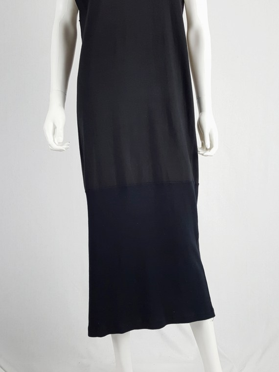 vintage Maison Martin Margiela artisanal black dress with tshirt collar fall 2002 141644
