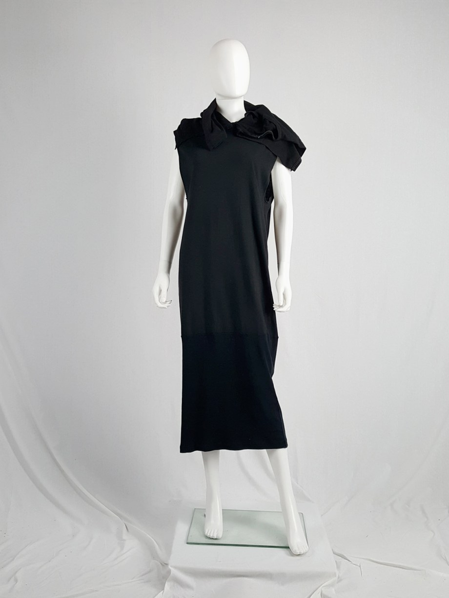 Maison Martin Margiela artisanal black dress with t-shirt collar — fall 2002