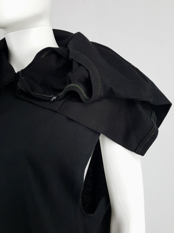 vintage Maison Martin Margiela artisanal black dress with tshirt collar fall 2002 142222