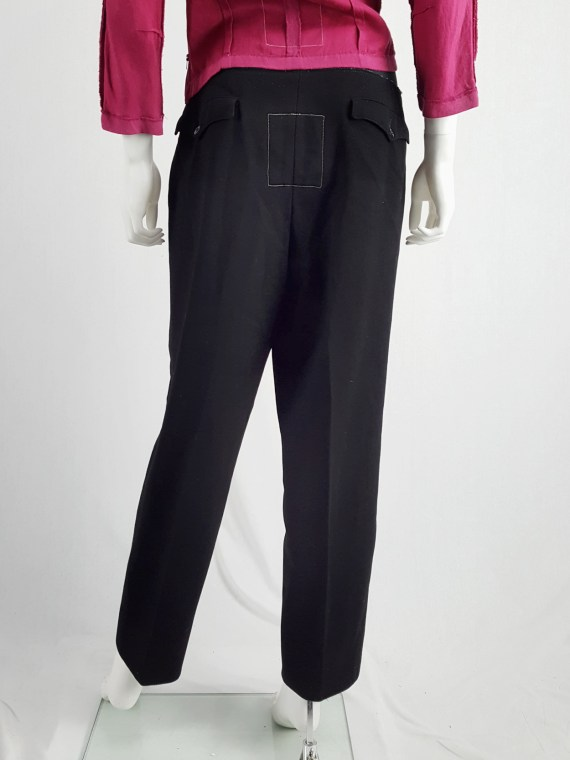 vintage Maison Martin Margiela artisanal black trousers with elasticated waist fall 1995 131704