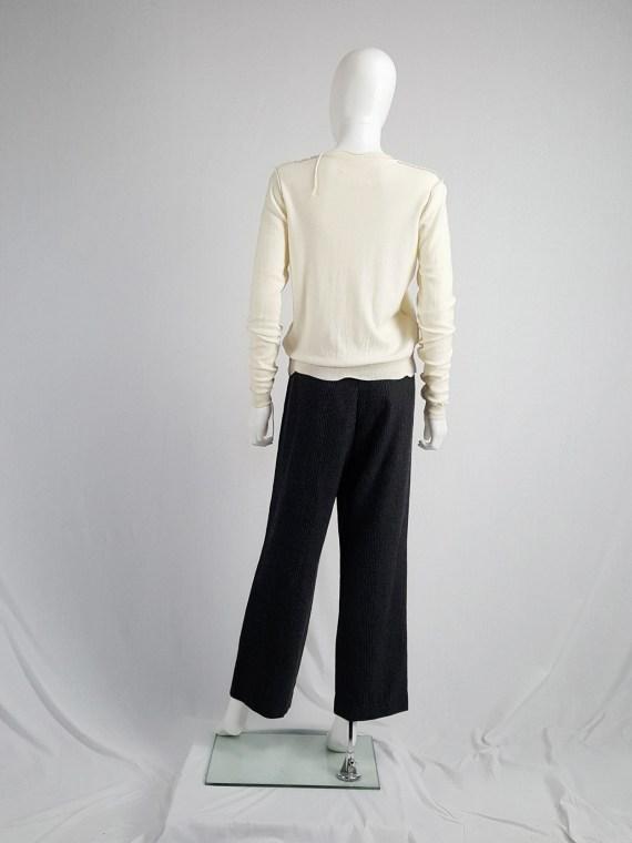 vintage Maison Martin Margiela beige inside out jumper with loose threads spring 2004 111713