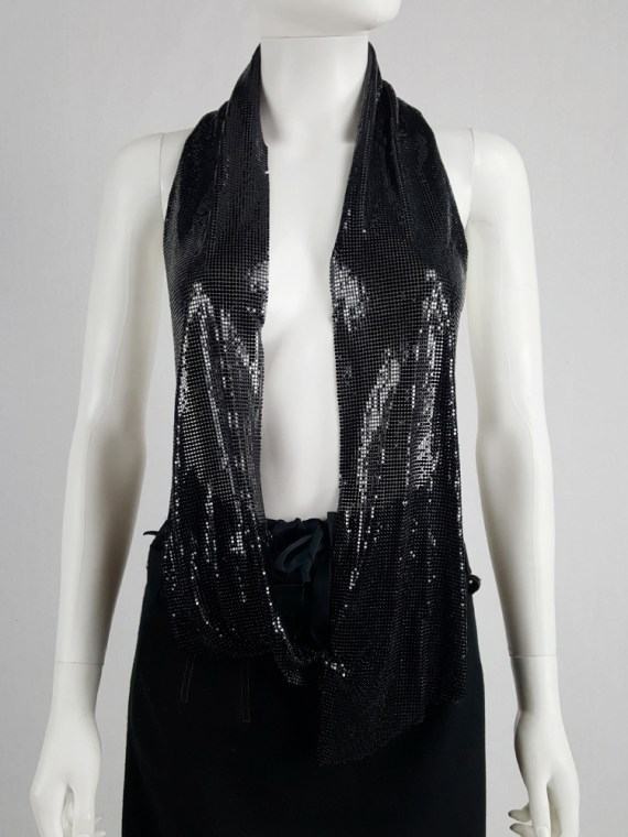 vintage Maison Martin Margiela black glowmesh scarf or necklace spring 2006 105330