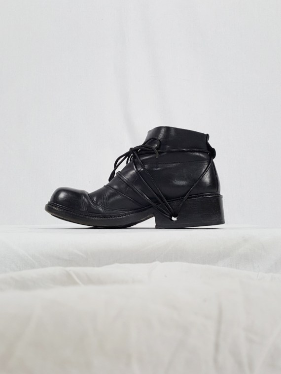 vaniitas vintage Dirk Bikkembergs black boots with laces through the soles 90s archive 120049