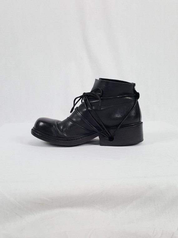 vaniitas vintage Dirk Bikkembergs black boots with laces through the soles 90s archive 120118