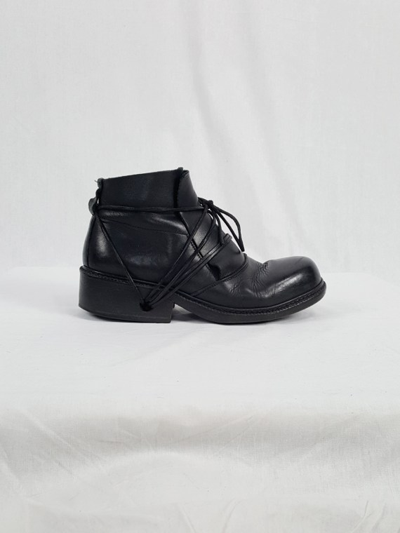 vaniitas vintage Dirk Bikkembergs black boots with laces through the soles 90s archive 120311