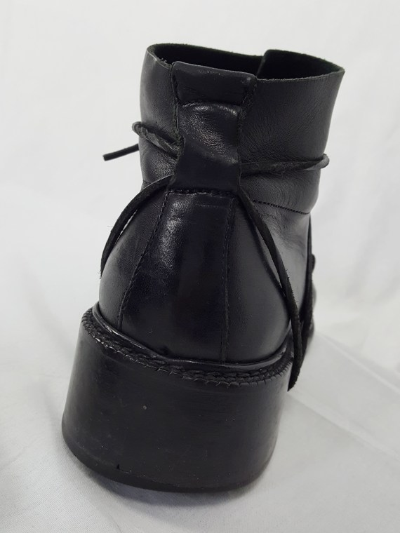 vaniitas vintage Dirk Bikkembergs black boots with laces through the soles 90s archive 120909