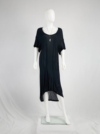 Ann Demeulemeester black t-shirt dress with triple darts