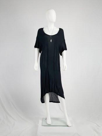 Ann Demeulemeester black t-shirt dress with triple darts