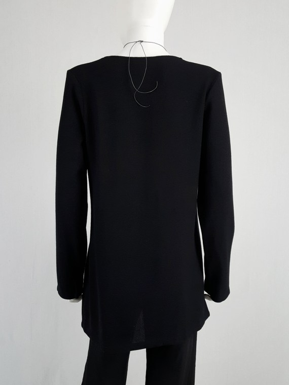 vintage Ann Demeulemeester black tunic with deep v neck fall 2015 120449
