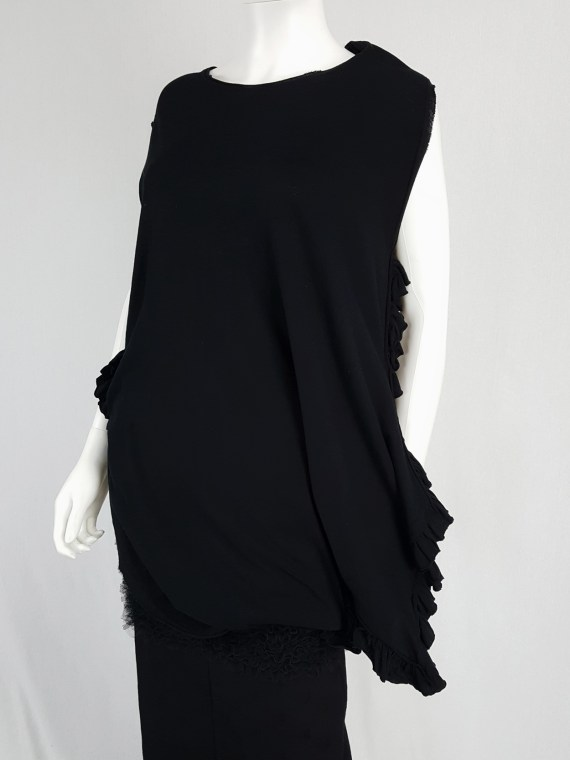 vintage Comme des Garcons black draped top with side ruffles spring 2013 125703