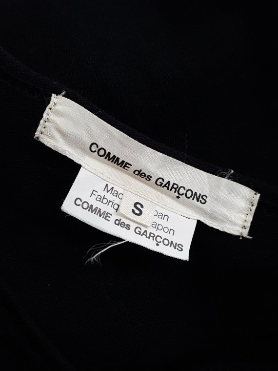 vintage Comme des Garcons black draped top with side ruffles spring 2013 131536