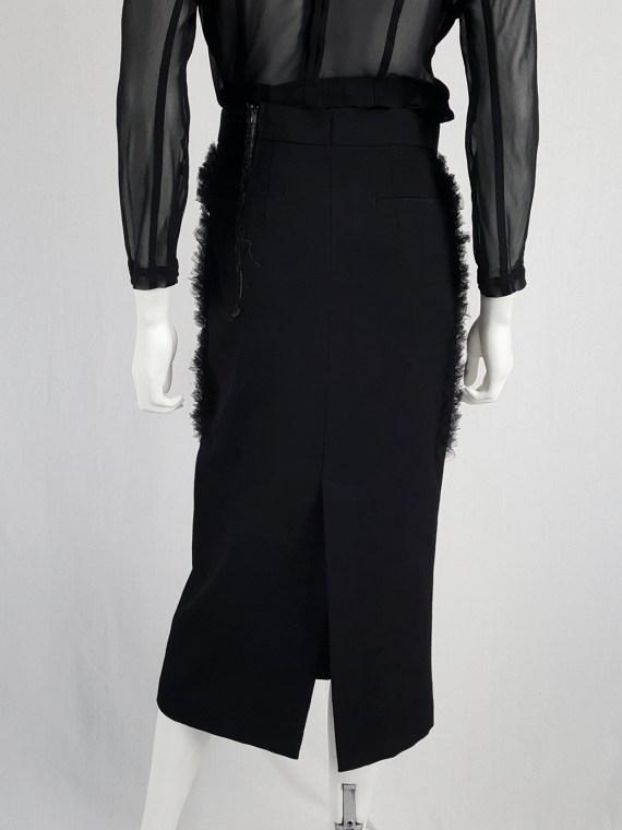 Comme des Garçons black skirt with ruffled panel — fall 2001