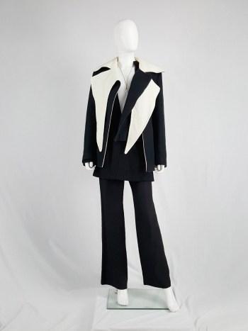 Haider Ackermann black biker coat with white collar — fall 2011