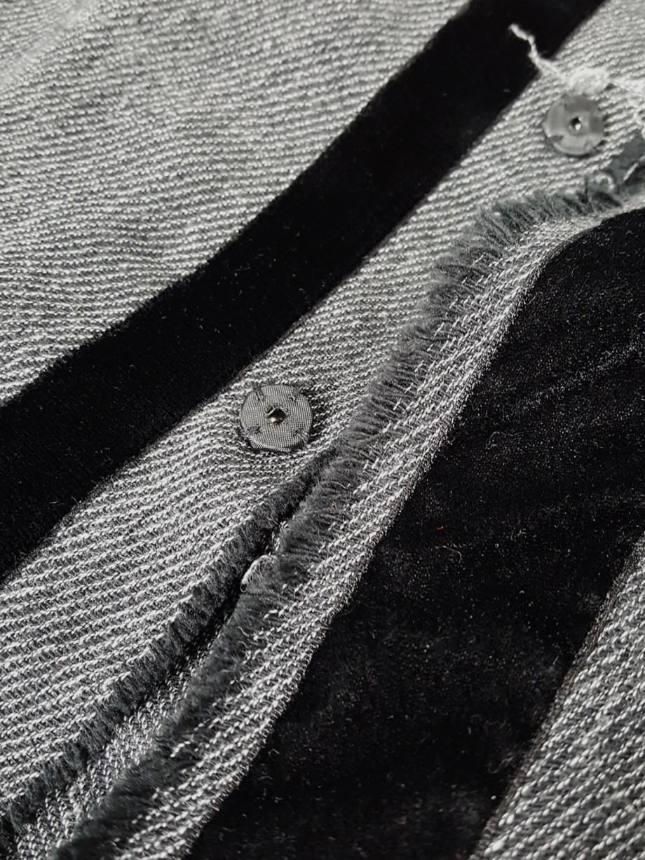 Yohji Yamamoto Noir grey tweed deconstructed jacket with torn hems