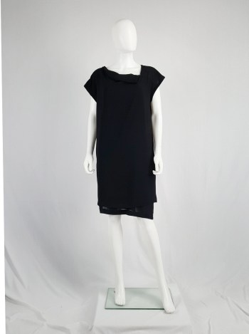 Comme des Garçons black double-layered dress with pleated neckline — 1990