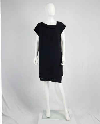 Comme des Garçons black double-layered dress with pleated neckline — 1990