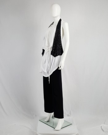 Ann Demeulemeester black backless waistcoat with matte sequins — spring 2010