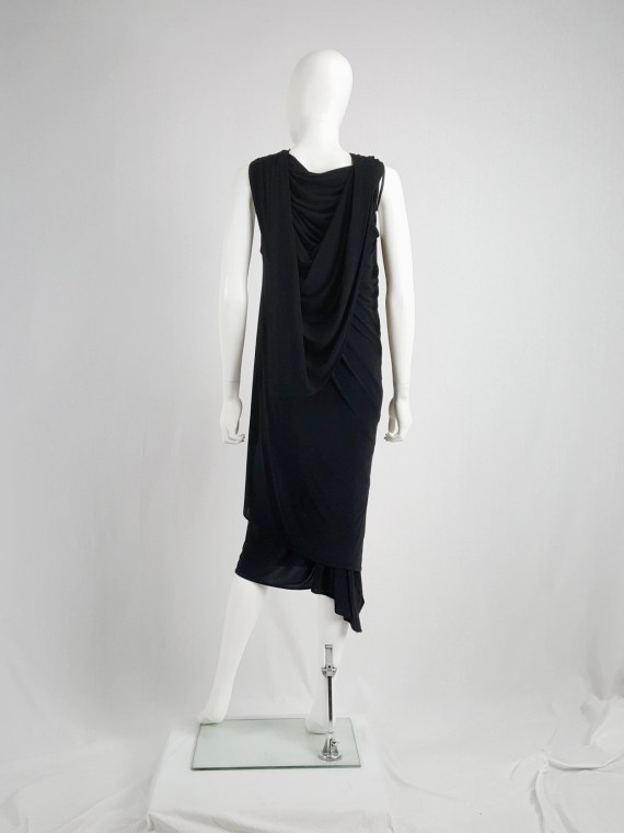 vaniitas vintage Ann Demeulemeester black triple wrapped dress spring 1998 145737