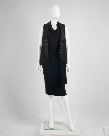 Ann Demeulemeester black waistcoat with matte sequins — spring 2010