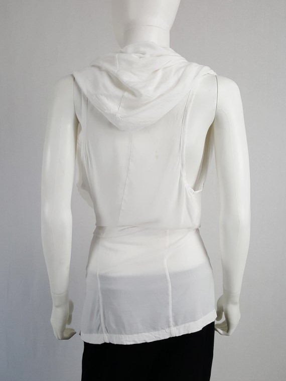 Ann Demeulemeester white sleeveless draped top with hood — spring 2009