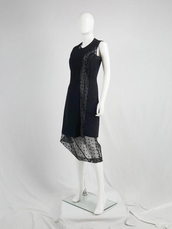 vaniitas vintage Comme des Garçons black sheer polkadot dress with wool paneling fall 1997 174758