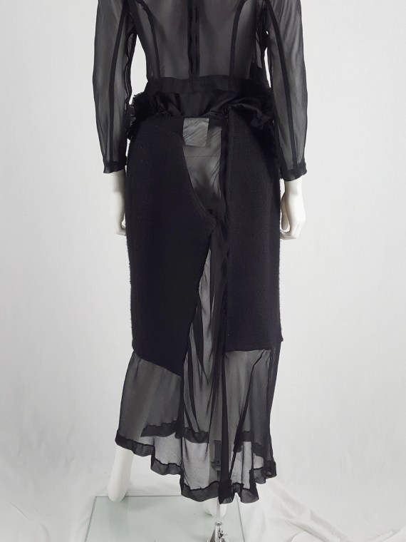 Comme des Garçons black sheer skirt with wool paneling — fall 1997