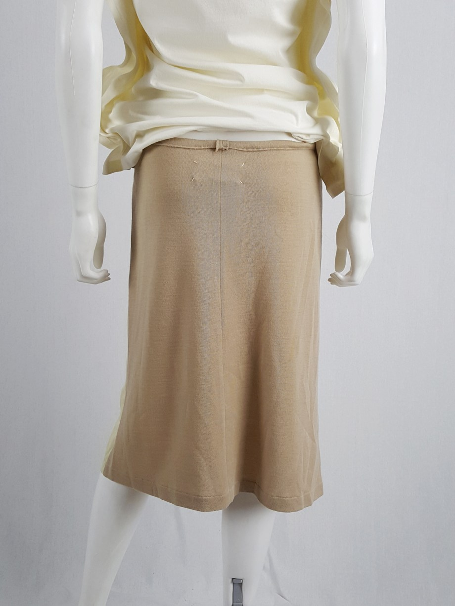 vaniitas vintage Maison Martin Margiela beige skirt with brown back fall 1997 181312