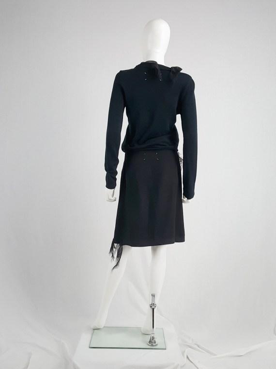 Maison Martin Margiela black skirt with silk torn trims — spring 2006