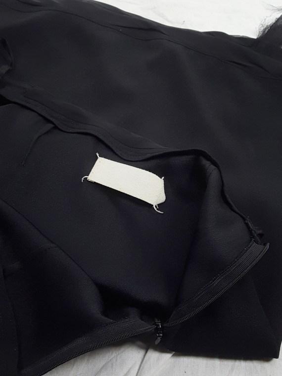 vaniitas vintage Maison Martin Margiela black skirt with silk torn trims spring 2006 155836