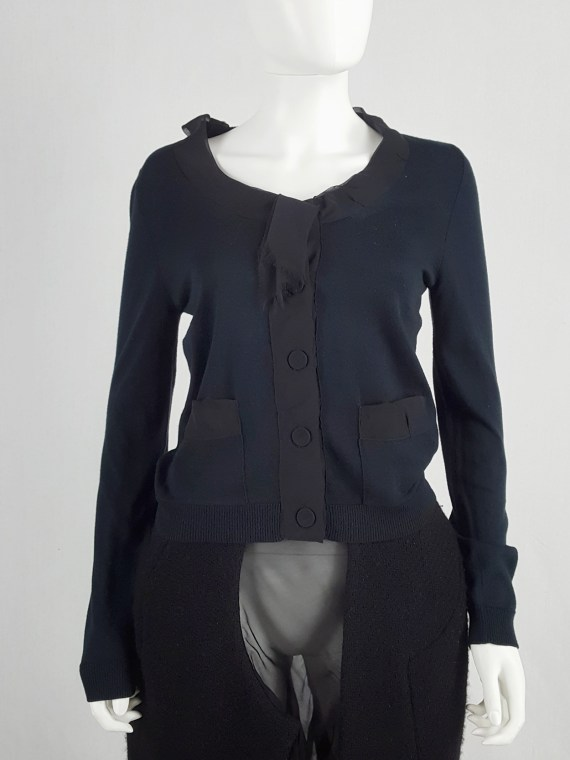 Maison Martin Margiela blue cardigan with silk torn trims — spring 2006