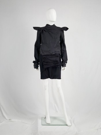 Rick Owens GLEAM black shorts with front and back drape — fall 2010