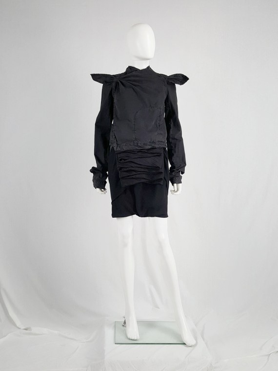 vaniitas vintage Rick Owens GLEAM black shorts with front and back drape runway fall 2010 151402