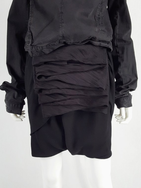 vaniitas vintage Rick Owens GLEAM black shorts with front and back drape runway fall 2010 151504