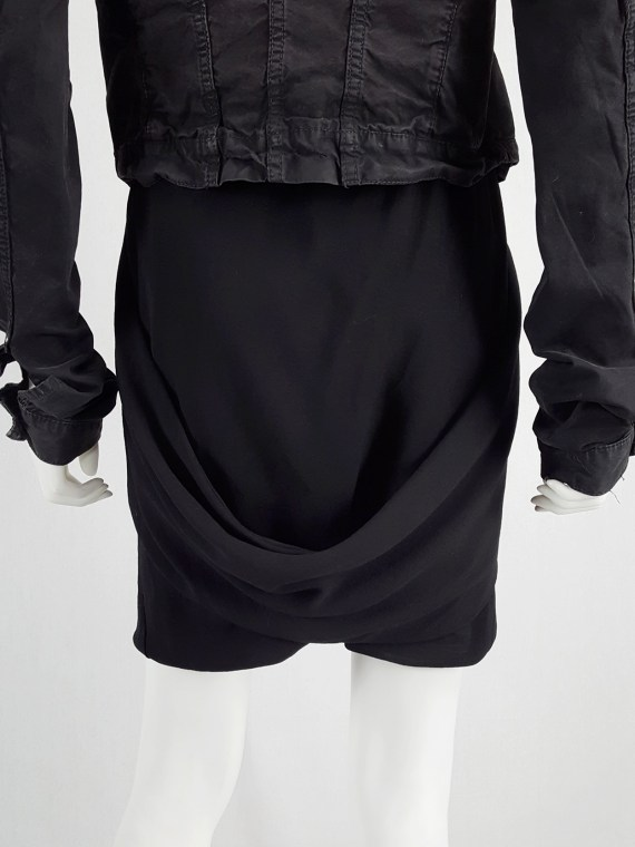 vaniitas vintage Rick Owens GLEAM black shorts with front and back drape runway fall 2010 151852