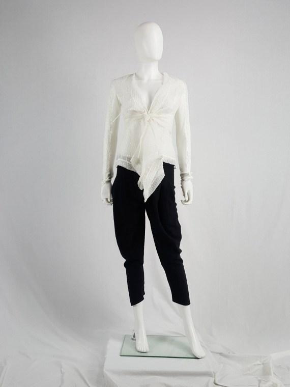 vaniitas vintage Rick Owens white sheer summer jacket with front drape 180510