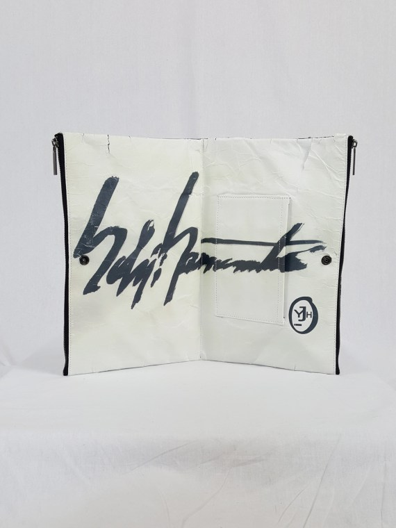 vaniitas vintage Yohji Yamamoto × Matatabi black and white marbled paper clutch bag fall 2015 132851