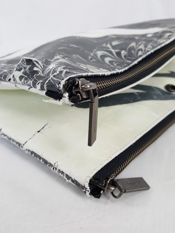 vaniitas vintage Yohji Yamamoto × Matatabi black and white marbled paper clutch bag fall 2015 132918(0)
