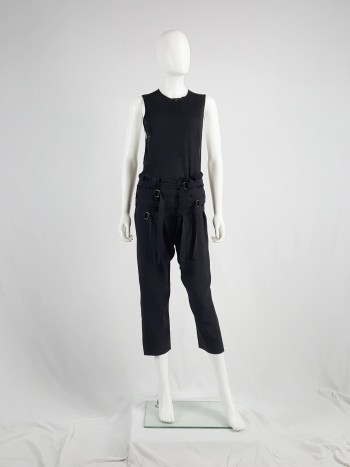 Ann Demeulemeester black trousers with front belt straps — spring 2003