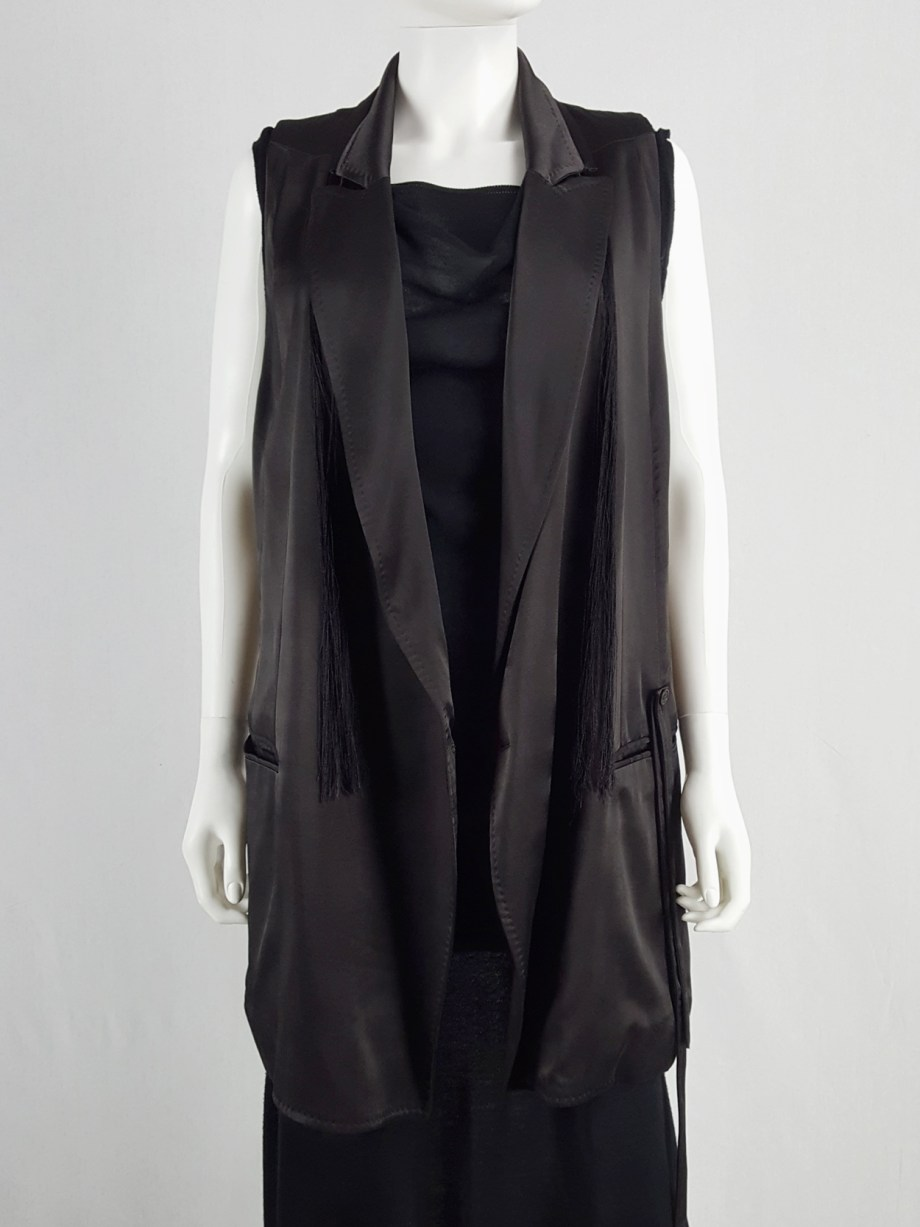 Ann Demeulemeester eggplant oversized waistcoat with tassels — spring 2012