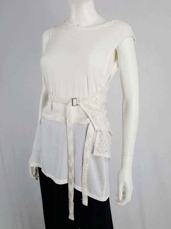 vaniitas vintage Ann Demeulemeester white layered top with open back spring 2014 160755